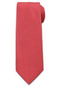 Wyrazisty Krawat Męski w Drobny Wzorek -6,5cm- Chattier, Bladoczerwony. Kolor: czerwony. Materiał: tkanina. Styl: wizytowy, elegancki
