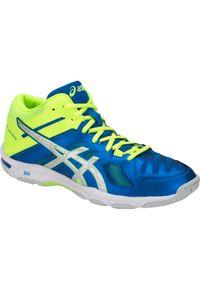 Niebieskie buty do siatkówki Asics z cholewką, w kolorowe wzory
