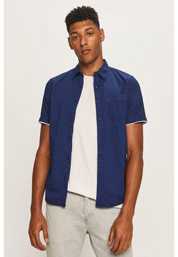 Niebieska koszula Levi's® klasyczna, w kolorowe wzory, z krótkim rękawem, z klasycznym kołnierzykiem