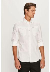 Biała koszula G-Star RAW na co dzień, z klasycznym kołnierzykiem, długa, casualowa