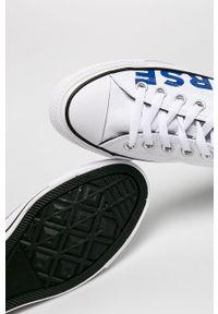 Białe niskie trampki Converse z okrągłym noskiem, na sznurówki, z cholewką