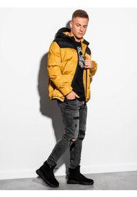 Ombre Clothing - Kurtka męska zimowa pikowana C458 - żółta - XXL. Kolor: żółty. Materiał: poliester. Sezon: zima