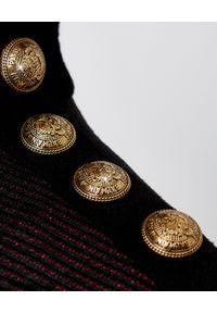 Balmain - BALMAIN - Sukienka w paski z logo. Okazja: na imprezę. Kolor: czarny. Materiał: materiał. Wzór: paski