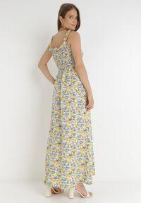 Born2be - Niebiesko-Żółta Sukienka Kiryasda. Typ kołnierza: dekolt kwadratowy. Kolor: niebieski. Długość rękawa: na ramiączkach. Wzór: kolorowy. Typ sukienki: rozkloszowane. Długość: maxi