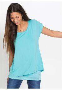 Niebieska bluzka bonprix z krótkim rękawem, długa