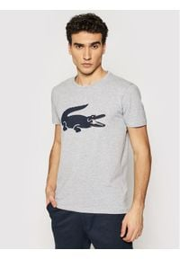 Lacoste T-Shirt TH0139 Szary Slim Fit. Kolor: szary