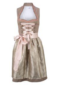 Sukienka ludowa ze stójką bonprix zielonoszaro-beżowy w kropki. Typ kołnierza: kołnierzyk stójkowy. Kolor: brązowy. Wzór: kropki