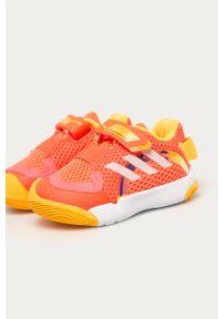 Pomarańczowe buty sportowe adidas Performance na rzepy, z cholewką, z okrągłym noskiem