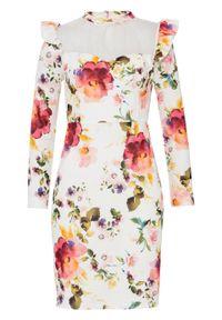 Sukienka z siatkową wstawką i falbanami bonprix biały w kwiaty. Kolor: biały. Wzór: kwiaty