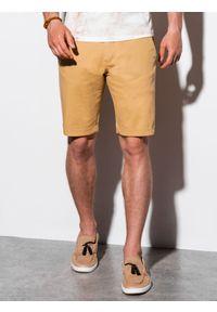 Ombre Clothing - Krótkie spodenki męskie casual W243 - ciemnobeżowe - XXL. Okazja: na co dzień. Kolor: beżowy. Materiał: elastan, bawełna. Długość: krótkie. Sezon: lato. Styl: casual