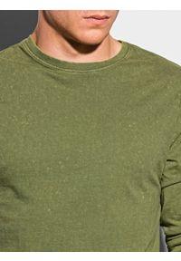 Ombre Clothing - Longsleeve męski bez nadruku L131 - oliwkowy - XXL. Kolor: oliwkowy. Materiał: bawełna. Długość rękawa: długi rękaw