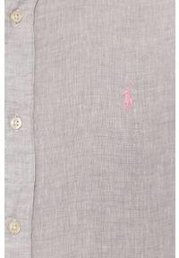 Polo Ralph Lauren - Koszula. Typ kołnierza: polo. Kolor: szary. Materiał: tkanina. Długość rękawa: długi rękaw. Długość: długie. Styl: klasyczny