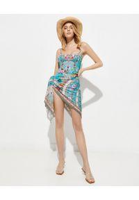 Camilla - CAMILLA - Jednoczęściowy strój kąpielowy z kryształami. Kolor: niebieski. Wzór: kwiaty, aplikacja