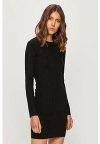 Czarna sukienka TALLY WEIJL dopasowana, z długim rękawem, casualowa