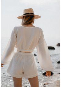 Marsala - Bluzka z muślinu bawełnianego w kolorze ecru - SOLEO BY MARSALA. Materiał: bawełna. Długość rękawa: długi rękaw. Długość: długie. Sezon: lato. Styl: boho