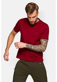 Lancerto - Koszulka Bordowa Mark. Okazja: na co dzień. Kolor: czerwony. Materiał: włókno, materiał, bawełna. Wzór: aplikacja. Sezon: lato, jesień, wiosna, zima. Styl: klasyczny, casual
