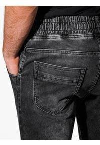Ombre Clothing - Spodnie męskie jeansowe joggery P907 - czarne - XXL. Kolor: czarny. Materiał: jeans. Wzór: aplikacja