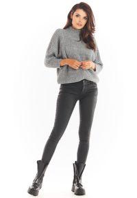 Awama - Kimonowy Sweter z Półgolfem - Szary. Kolor: szary. Materiał: poliester, poliamid