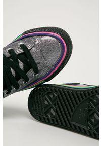 Srebrne trampki Converse na sznurówki, z cholewką, z okrągłym noskiem