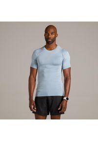 KIPRUN - Koszulka Do Biegania Męska Kiprun Skincare. Kolor: wielokolorowy, szary, niebieski. Materiał: poliamid, materiał, poliester, elastan. Sport: fitness