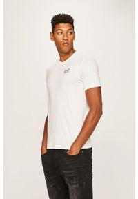 Biały t-shirt EA7 Emporio Armani casualowy, na co dzień