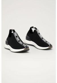 Czarne sneakersy Karl Lagerfeld na średnim obcasie, z cholewką