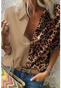 IVET - Koszula damska TARDANA BROWN. Okazja: na co dzień. Kolor: brązowy. Wzór: motyw zwierzęcy. Styl: casual