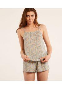 Lania Top Od Piżamy Made With Libert Fabric - L - Seledynowy - Etam. Kolor: zielony. Wzór: kwiaty