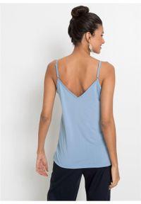 Top na cienkich ramiączkach, z koronką bonprix jasnoniebieski. Kolor: niebieski. Materiał: koronka. Długość rękawa: na ramiączkach. Wzór: koronka