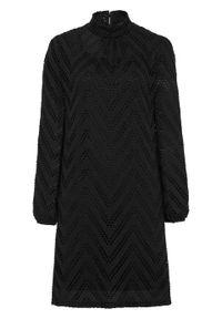 Czarna sukienka bonprix w ażurowe wzory, ze stójką