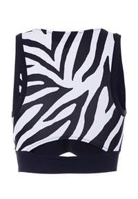 REDEMPTION ATHLETIX - Top ze wzorem w zebrę. Kolor: czarny. Materiał: nylon. Wzór: motyw zwierzęcy. Styl: elegancki, sportowy