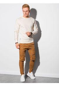 Ombre Clothing - Bluza męska bez kaptura B1153 - kremowa - XXL. Typ kołnierza: bez kaptura. Kolor: kremowy. Materiał: bawełna, jeans, poliester. Styl: klasyczny, elegancki