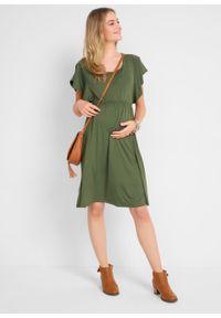 Sukienka ciążowa i do karmienia LENZING™ ECOVERO™ bonprix ciemny khaki. Kolekcja: moda ciążowa. Kolor: zielony. Materiał: materiał