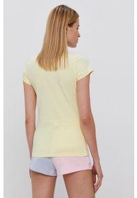 Ellesse - T-shirt bawełniany. Okazja: na co dzień. Kolor: żółty. Materiał: bawełna. Wzór: aplikacja. Styl: casual