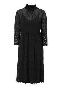 Truly mine Sukienka Gaia Czarny female czarny S (34/36). Kolor: czarny. Materiał: jersey, koronka. Długość rękawa: na ramiączkach. Wzór: kropki, koronka. Styl: elegancki