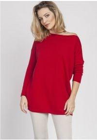 MKM - Oversizowy Sweter z Szerokim Dekoltem - Czerwony. Kolor: czerwony. Materiał: akryl, wiskoza