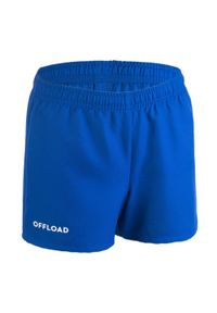 OFFLOAD - SPODENKI do gry w rugby CLUB R100 dla dzieci bez kieszeni. Kolor: niebieski. Materiał: poliester, materiał. Długość: krótkie