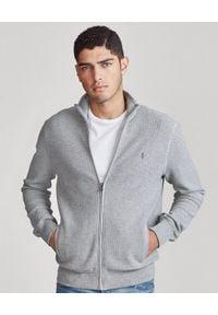 Ralph Lauren - RALPH LAUREN - Szary sweter z kieszeniami. Typ kołnierza: polo. Kolor: szary. Materiał: mesh, dzianina. Długość rękawa: długi rękaw. Długość: długie. Wzór: haft. Styl: wizytowy