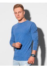 Ombre Clothing - Longsleeve męski bez nadruku L131 - ciemnoniebieski - XXL. Kolor: niebieski. Materiał: bawełna. Długość rękawa: długi rękaw