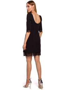 Sukienka koktajlowa MOE z krótkim rękawem, elegancka, z aplikacjami, z dekoltem na plecach