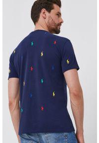 Polo Ralph Lauren - T-shirt bawełniany. Typ kołnierza: polo. Kolor: niebieski. Materiał: bawełna. Wzór: aplikacja