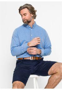 Niebieska koszula bonprix jodełka, biznesowa, na spotkanie biznesowe