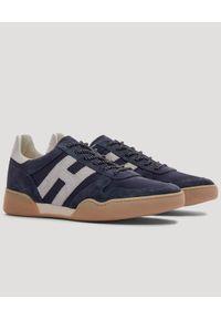 Hogan - HOGAN - Zamszowe sneakerys H357. Okazja: na co dzień. Kolor: niebieski. Materiał: zamsz. Obcas: na płaskiej podeszwie. Sport: tenis