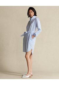 Ralph Lauren - RALPH LAUREN - Sukienka koszulowa w paski. Typ kołnierza: polo. Kolor: biały. Materiał: bawełna. Długość rękawa: długi rękaw. Wzór: paski. Typ sukienki: koszulowe
