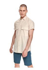 TOP SECRET - Koszula z lnem. Okazja: na co dzień. Kolor: beżowy. Materiał: len. Długość rękawa: krótki rękaw. Długość: krótkie. Sezon: lato. Styl: wakacyjny, casual #3