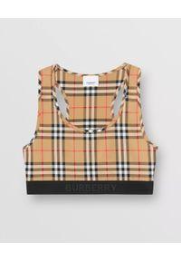 Burberry - BURBERRY - Beżowy top w kratkę. Kolor: beżowy. Materiał: jersey. Wzór: kratka. Styl: sportowy, klasyczny