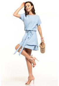 Tessita - Jasnoniebieska Kobieca Sukienka z Podwójną Spódnicą. Kolor: niebieski. Materiał: poliester, elastan