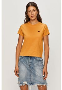 Pomarańczowa bluzka Vans z aplikacjami, casualowa, na co dzień