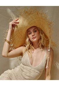 LESHKA - Słomiany kapelusz z szerokim rondem Summer Grande. Kolor: beżowy. Wzór: aplikacja. Styl: wakacyjny, elegancki