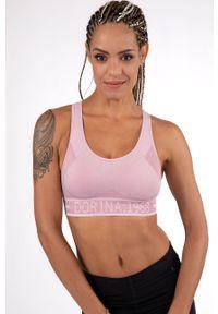 Różowy biustonosz sportowy Dorina z nadrukiem, z odpinanymi ramiączkami